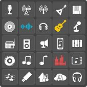 Set of 25 music vector web and mobile icons