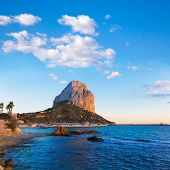 Calpe Alicante sunset at beach Cantal Roig in Mediterranean Spain