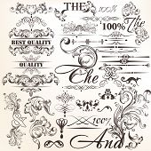 Collection Of Calligraphic Vector Decorative Elements In Vintage Style.ai
