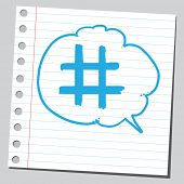 picture of hashtag  - Hashtag sign in comic bubble - JPG