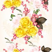 Vector  Seamless Pattern With Roses And Flowers