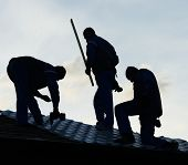 Building roof construction site teamwork silhouette
