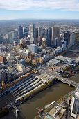 stock photo of cbd  - Aerial View of Melbourne City - JPG