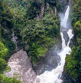 Waterfall In The Andes. Banos. Ecuador