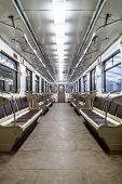 Interior empty Moscow subway car