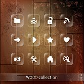 Vector wooden icon set.  Vector Illustration, Graphic Design Editable For Your Design.