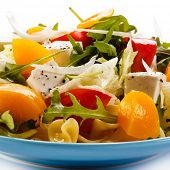 Pasta with feta cheese and vegetables