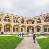 People Visit Jeronimos Monastery Cloister