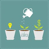 Financial growth concept. Idea bulb seed, watering can, dollar