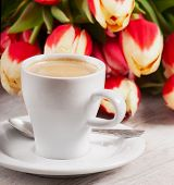 Coffee Cup And  Tulips