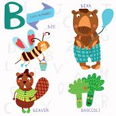 pic of bee cartoon  - Alphabet design in a colorful style - JPG