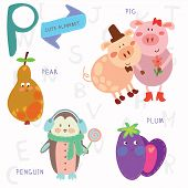Very Cute Alphabet.p Letter. Pear, Pig, Penguin, Plum.