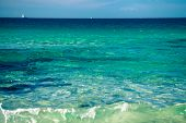 stock photo of tarifa  - Turquoise ocean on the beach in Tarifa Spain - JPG
