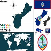 stock photo of guam  - Vector map of Guam with regions coat of arms and location on world map - JPG