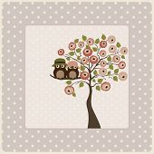 Vintage Card With Tree Roses And Owls