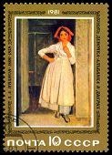 Vintage  Postage Stamp. Picture Albanian Girl In Door, By A. A. Ivanov.