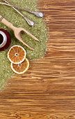 Background - Yerba Mate, Calabash And Bombilla On A Wooden Table