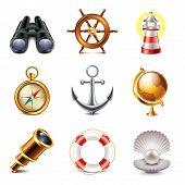 Marine Icons Photo-realistic Vector Set