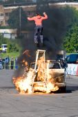 Moscow,russia - June 6 : Stunt Man Ivan Simakov Jumps Over Fire During A Stunt Man Show On June 6, 2