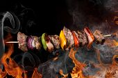 Tasty skewers with fire flames, close-up.