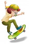 stock photo of skate  - Illustration of an energetic boy skating on a white background - JPG