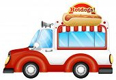 stock photo of meals wheels  - Illustration of a vehicle selling hotdogs on a white background - JPG