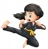 pic of karate-do  - Illustration of a brave girl doing karate on a white background - JPG