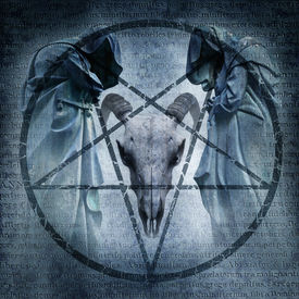 stock photo of antichrist  - Satanic Mass graphic with two hooded figures and a demonic ram head materialising within an occult pentagram against a dark weathered Latin text background - JPG