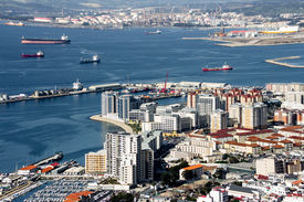 foto of gibraltar  - View from the Rock of Gibraltar Gibraltar City and Gibraltar Bay  - JPG