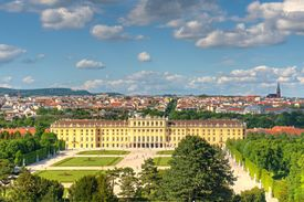 picture of schoenbrunn  - Photo shows general view of garden and Vienna city - JPG