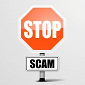 detailed illustration of a red stop Scam sign, eps10 vector