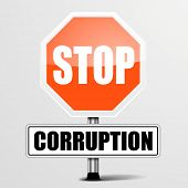 detailed illustration of a red stop corruption sign, eps10 vector