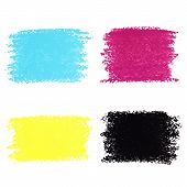Set of CMYK pastel crayon spots isolated on white background