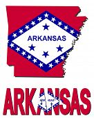 Arkansas map flag and text illustration