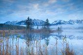 Karwendel Alps Reflected In Barmsee Lake