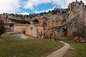 picture of templar  - templar romanesque chapel of San Bartolome in the Lobos river canyon Spain