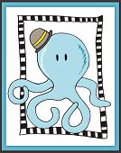 Cute Octopus Card In Scrapbooking Style