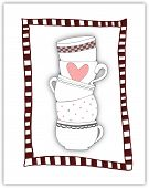 Stack Of Towering Cups In Red Stripey Frame