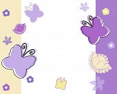 Pastel Background With Butterflies In Yellow,white And Violet