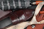 Classic Mens Shoes, Tie, Cufflinks, Gloves,umbrella, Purse On Natural Leather
