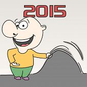Happy cartoon bald man celebrating New Year 2015 on grey background.
