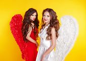 Two Attractive Women Wearing In Angel Costume With Wings Isolated On Yellow Background.