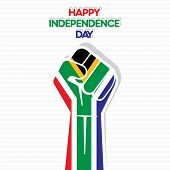 Flag of south africa in hand , happy Independence Day design vector