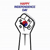 happy independence day of south Korea flag hand design vector