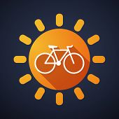 Sun Icon With A Bicycle