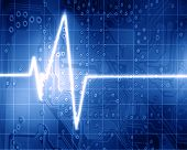 foto of blue-screen-of-death  - Heart monitor on a dark blue background - JPG