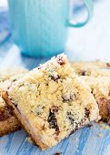 Fruit Cake With Streusel With Cup Of Milk