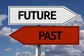 Creative sign with the text - Future x Past