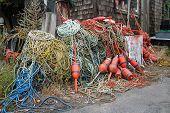 pic of shacks  - Piles of ropes outside lobster shack in Rockport - JPG