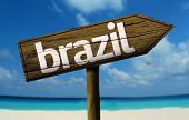 Brazil sign with a beach on background